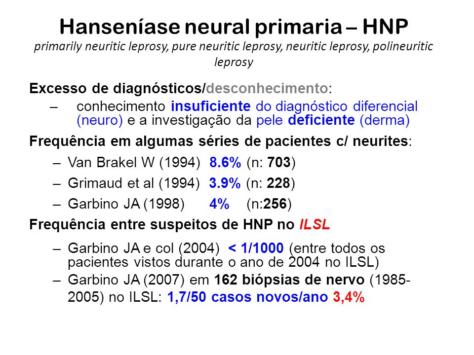 Hanseníase neural primaria – HNP primarily neuritic leprosy, pure neuritic leprosy, neuritic leprosy, polineuritic leprosy