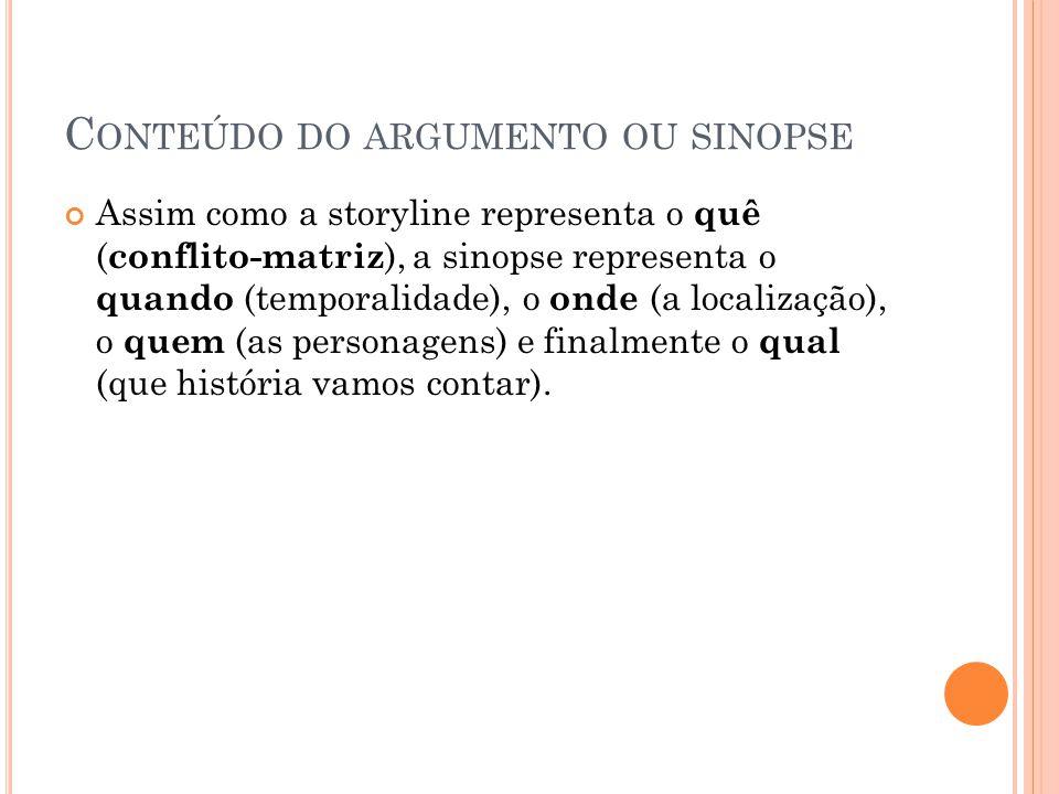 Conteúdo do argumento ou sinopse