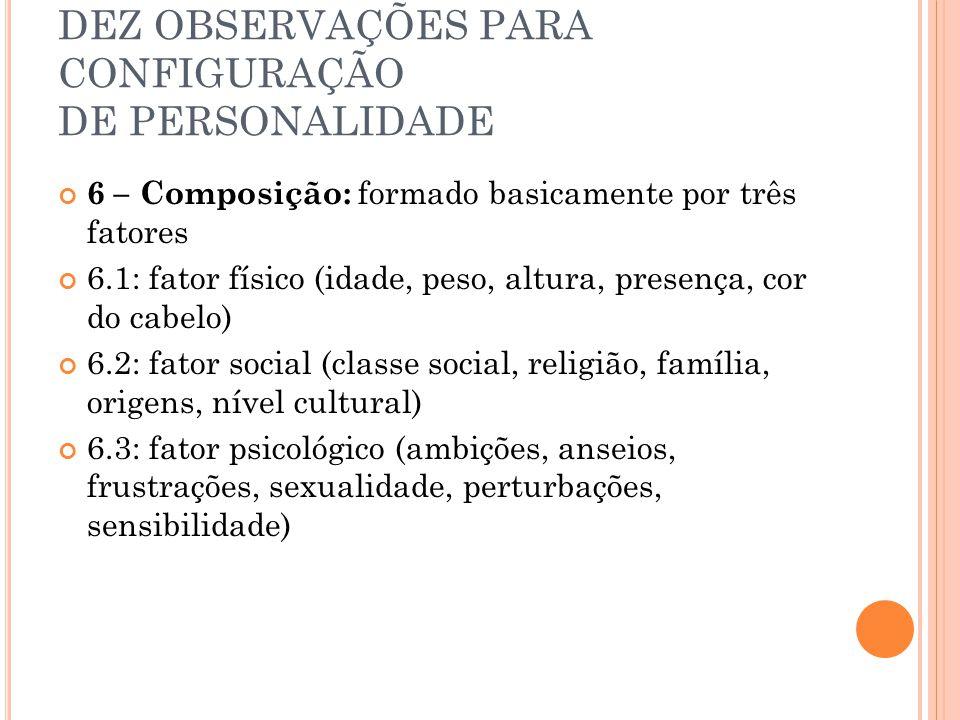 DEZ OBSERVAÇÕES PARA CONFIGURAÇÃO DE PERSONALIDADE