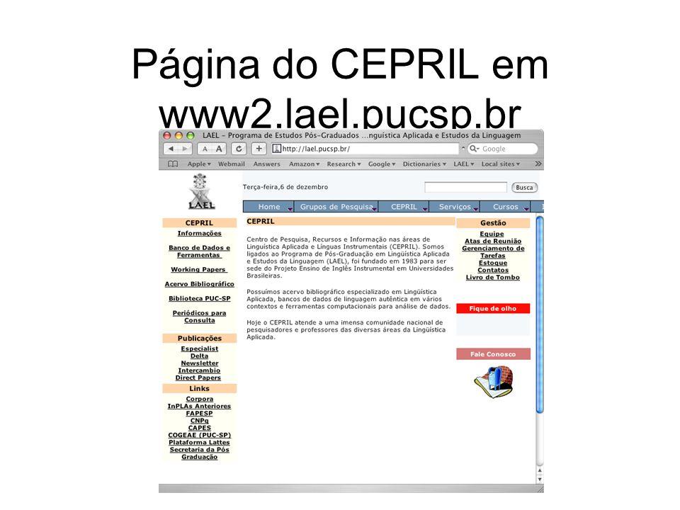 Página do CEPRIL em www2.lael.pucsp.br