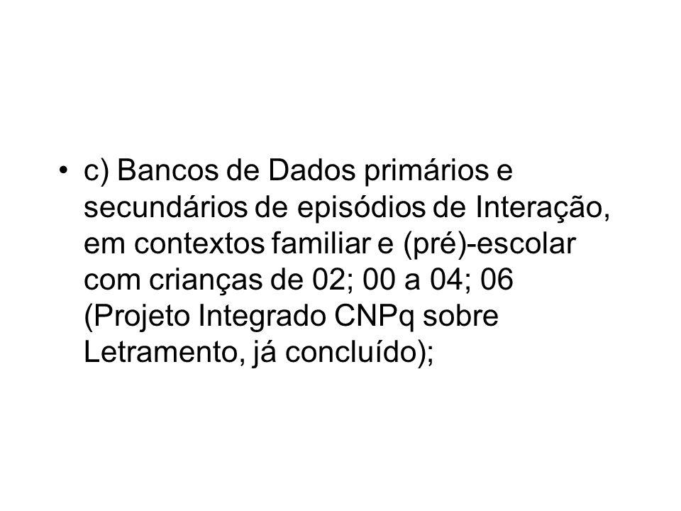 c) Bancos de Dados primários e secundários de episódios de Interação, em contextos familiar e (pré)-escolar com crianças de 02; 00 a 04; 06 (Projeto Integrado CNPq sobre Letramento, já concluído);