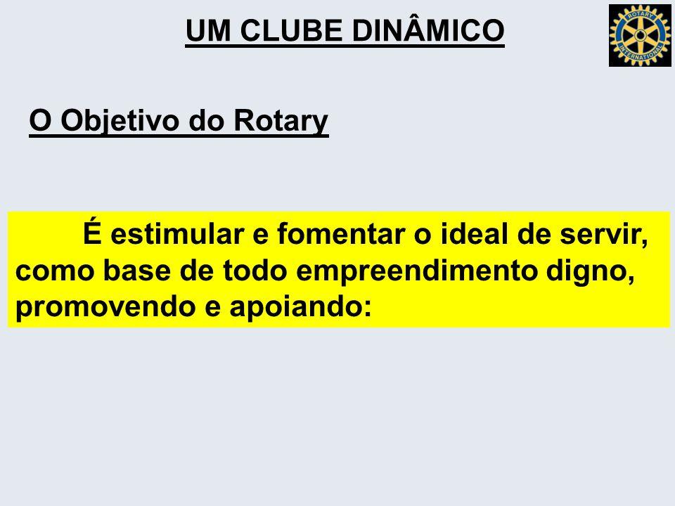 UM CLUBE DINÂMICO O Objetivo do Rotary. É estimular e fomentar o ideal de servir, como base de todo empreendimento digno,
