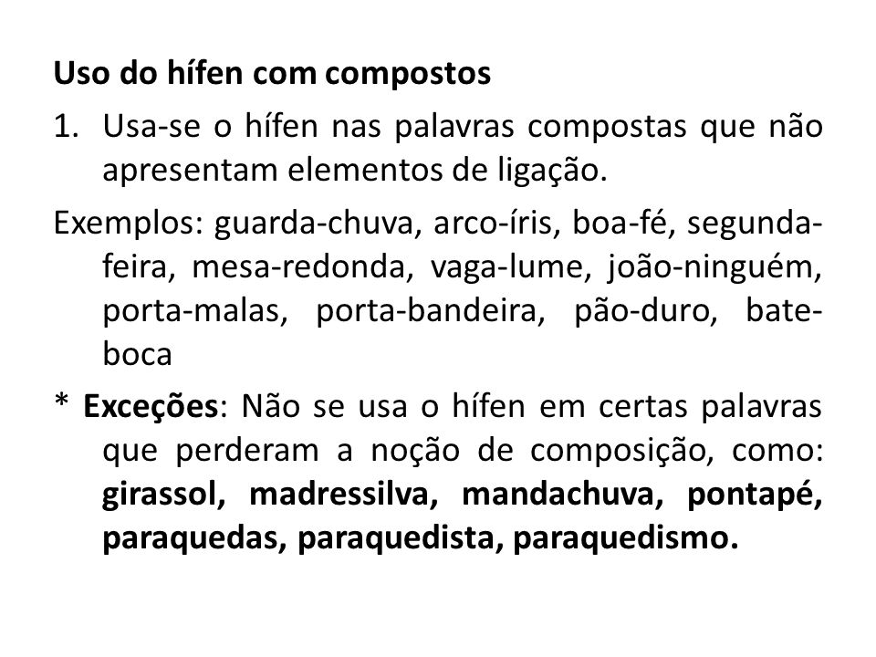 Uso do hífen com compostos