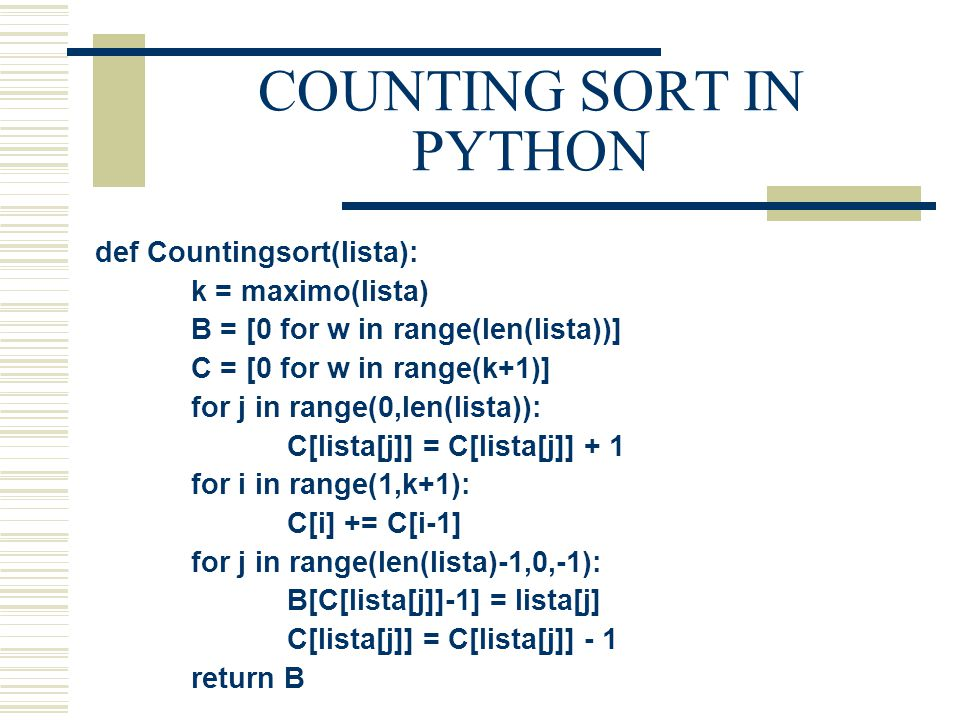COUNTING SORT IN PYTHON