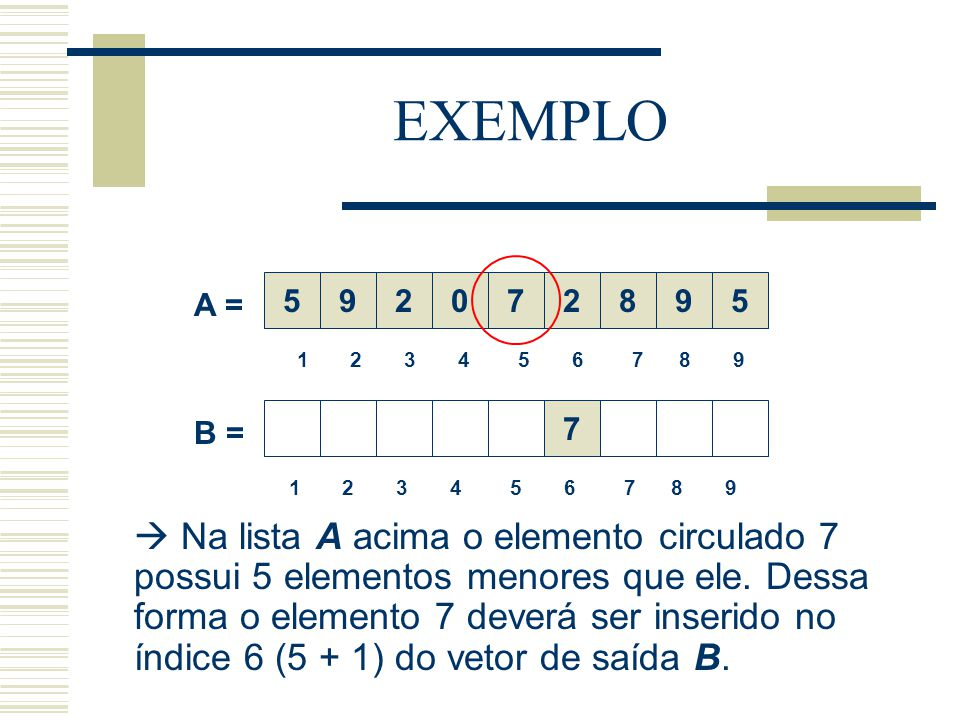 EXEMPLO 5. 9. 2. 7. 2. 8. 9. 5. A = 1 2 3 4 5 6 7 8 9.