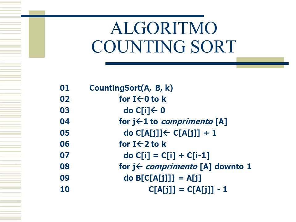 ALGORITMO COUNTING SORT
