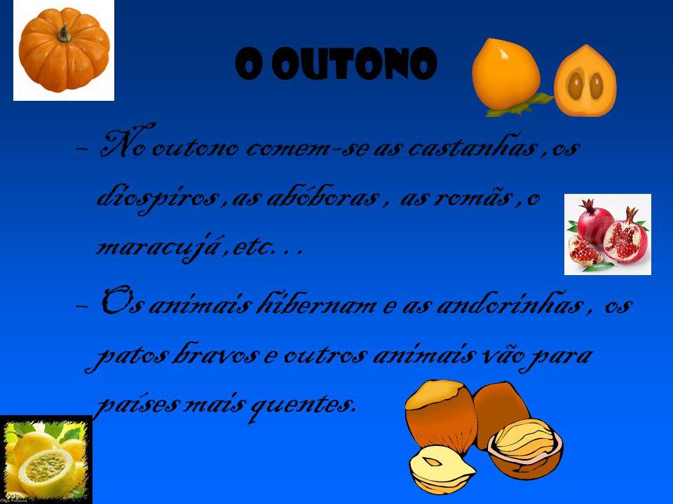 O outono No outono comem-se as castanhas ,os diospiros ,as abóboras , as romãs ,o maracujá ,etc…