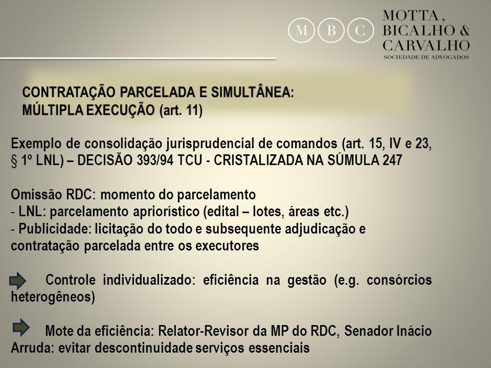 CONTRATAÇÃO PARCELADA E SIMULTÂNEA: