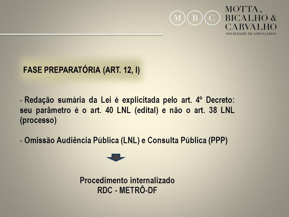 Procedimento internalizado FASE PREPARATÓRIA (ART. 12, I)