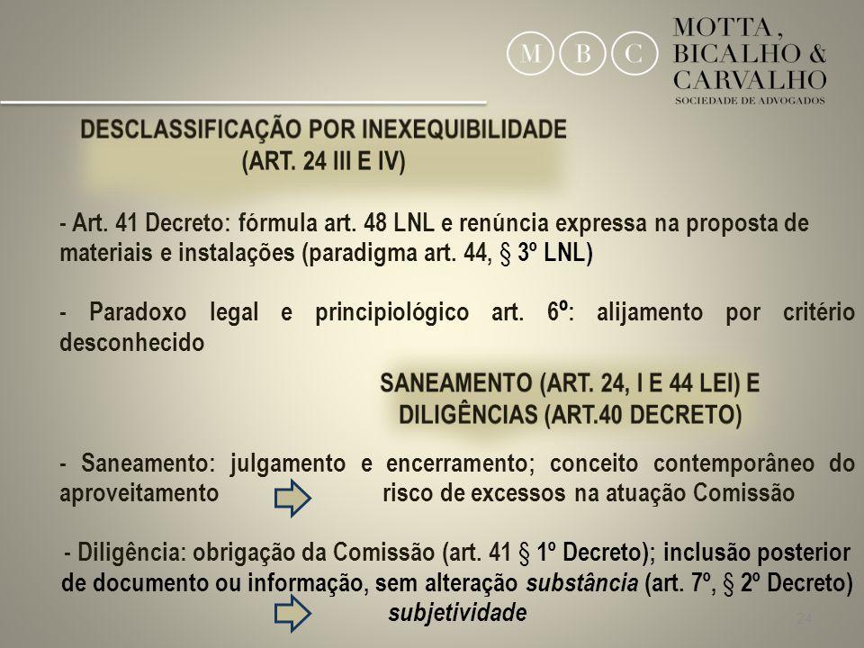 DESCLASSIFICAÇÃO POR INEXEQUIBILIDADE (ART. 24 III E IV)