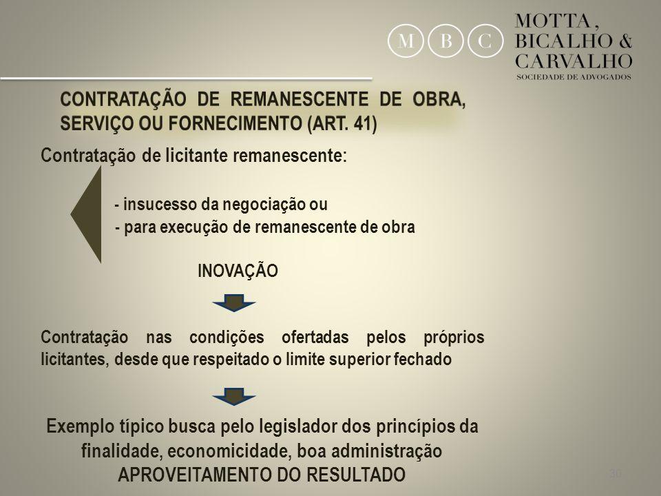 CONTRATAÇÃO DE REMANESCENTE DE OBRA, SERVIÇO OU FORNECIMENTO (ART. 41)