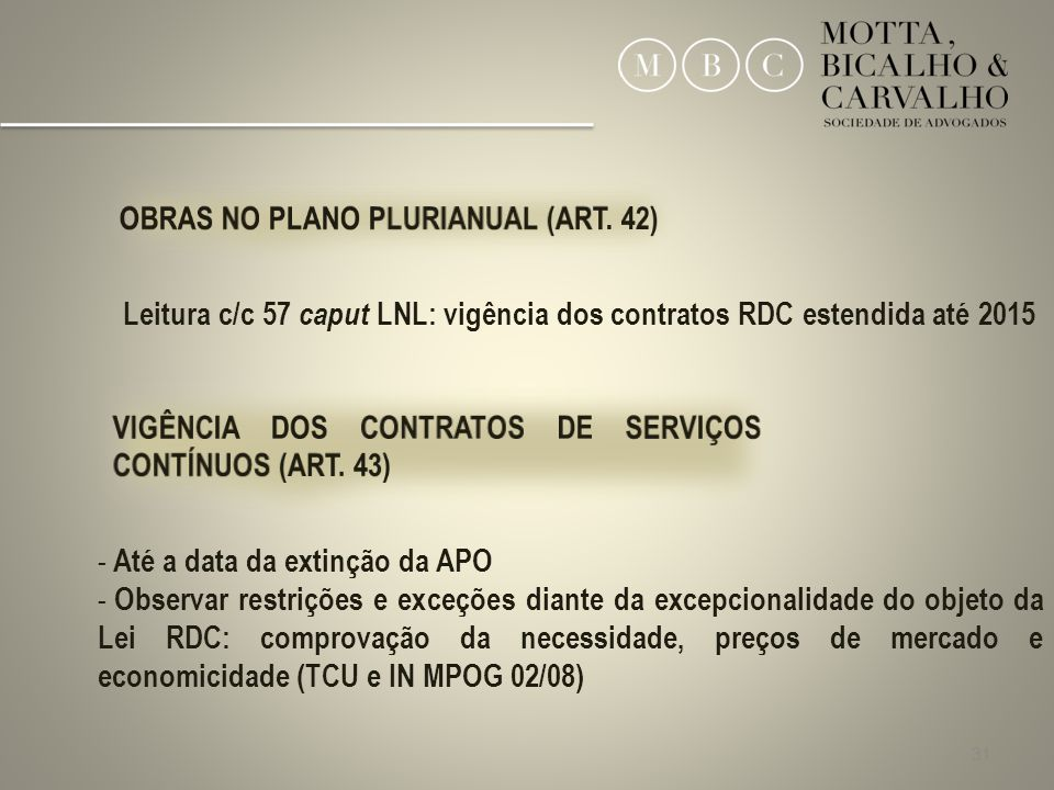 OBRAS NO PLANO PLURIANUAL (ART. 42)