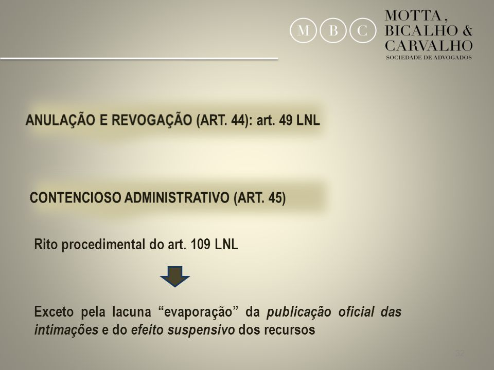 ANULAÇÃO E REVOGAÇÃO (ART. 44): art. 49 LNL