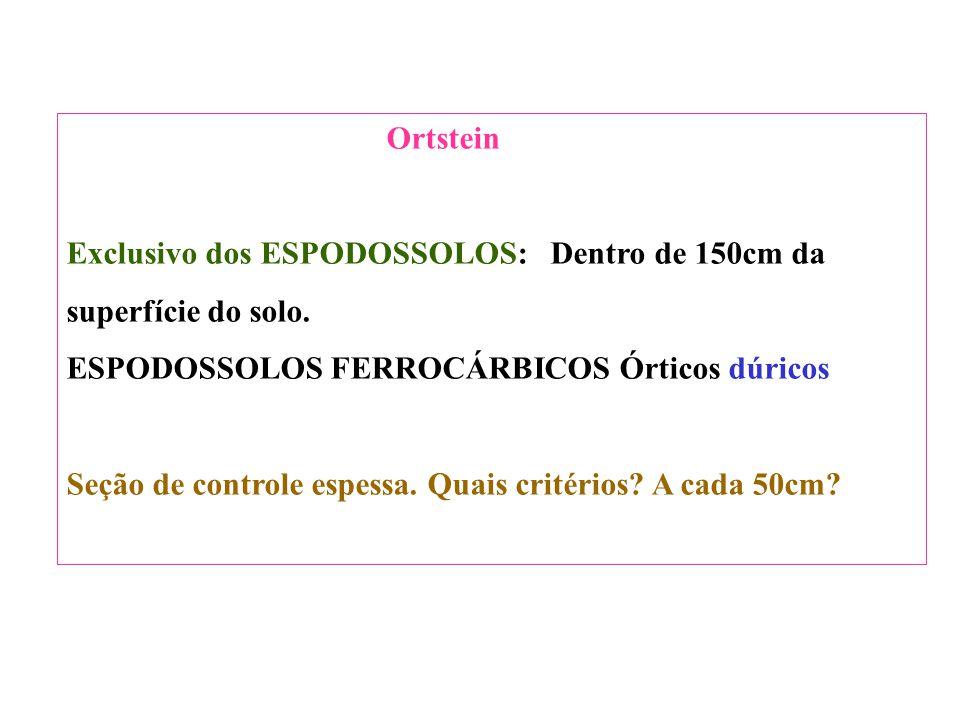 Ortstein Exclusivo dos ESPODOSSOLOS: Dentro de 150cm da. superfície do solo. ESPODOSSOLOS FERROCÁRBICOS Órticos dúricos.