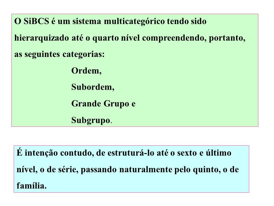 O SiBCS é um sistema multicategórico tendo sido