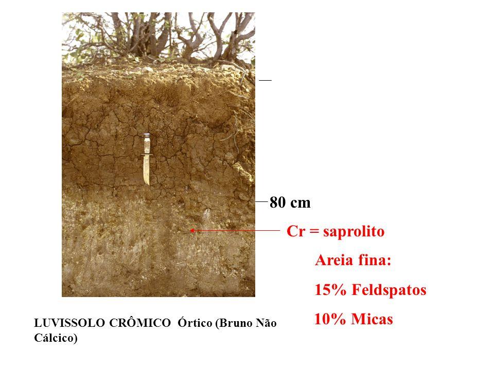 80 cm Cr = saprolito Areia fina: 15% Feldspatos