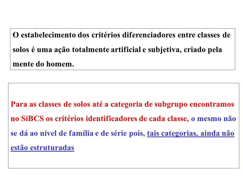 O estabelecimento dos critérios diferenciadores entre classes de
