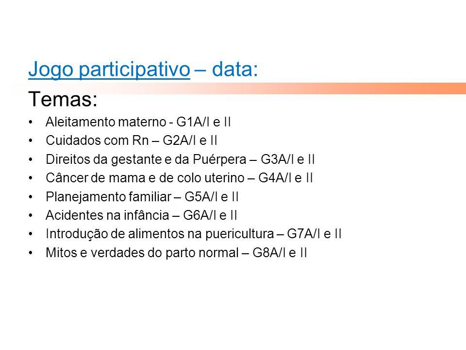 Jogo participativo – data: Temas: