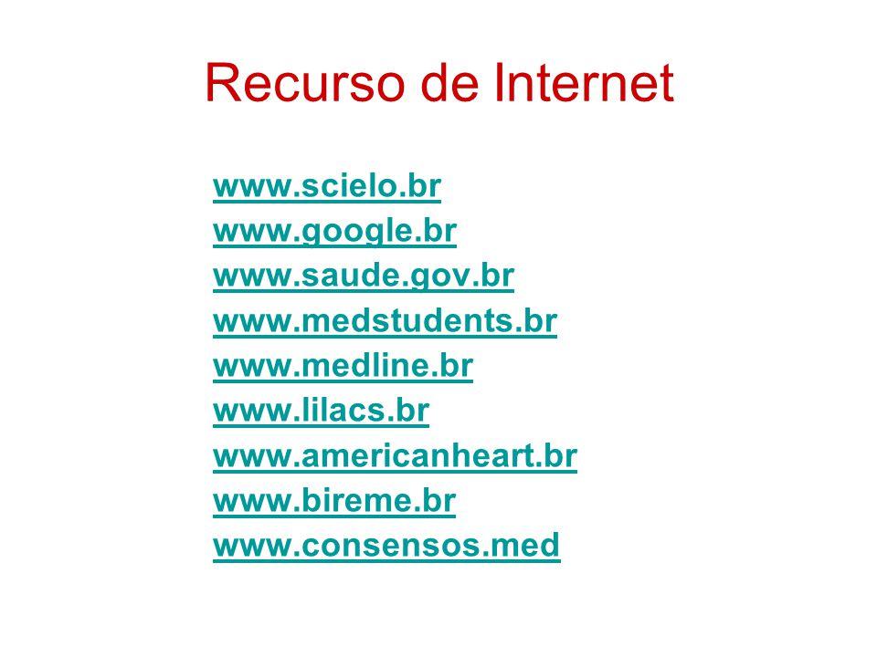 Recurso de Internet www.scielo.br www.google.br www.saude.gov.br