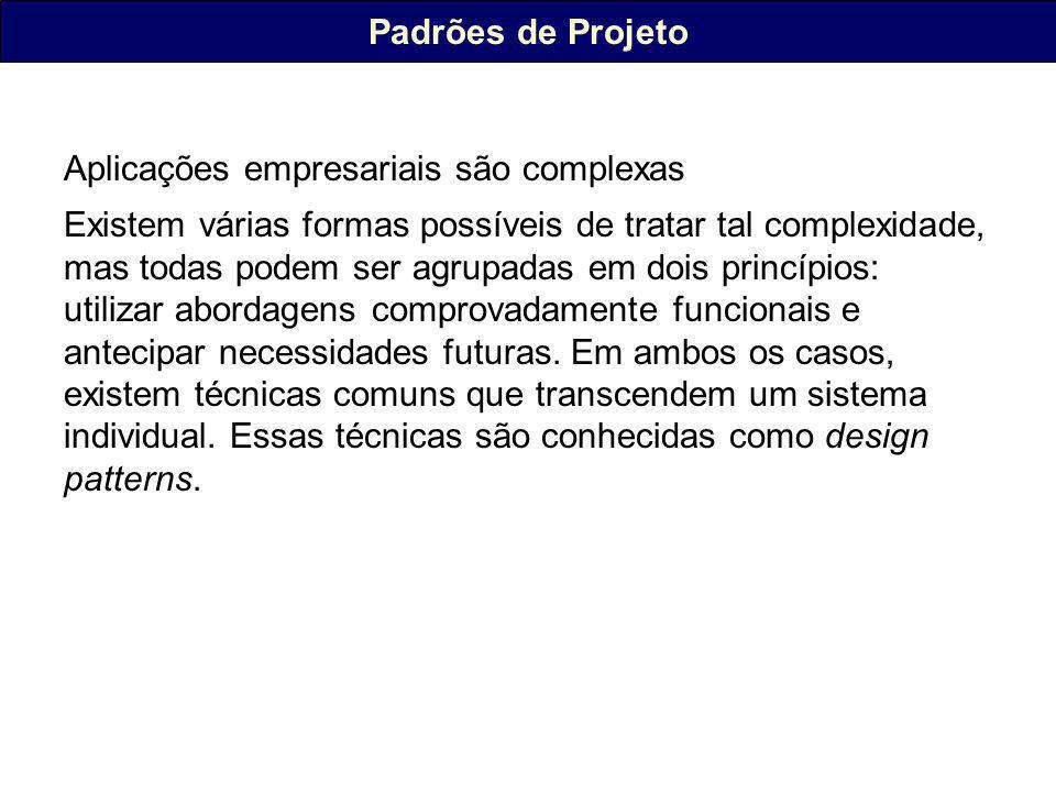 Padrões de Projeto Aplicações empresariais são complexas.