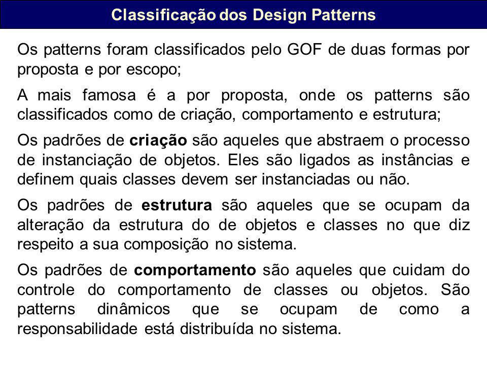 Classificação dos Design Patterns