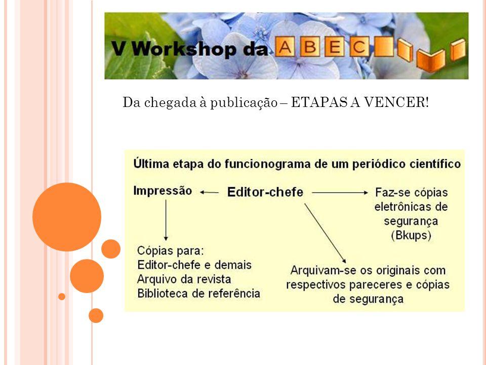 Da chegada à publicação – ETAPAS A VENCER!