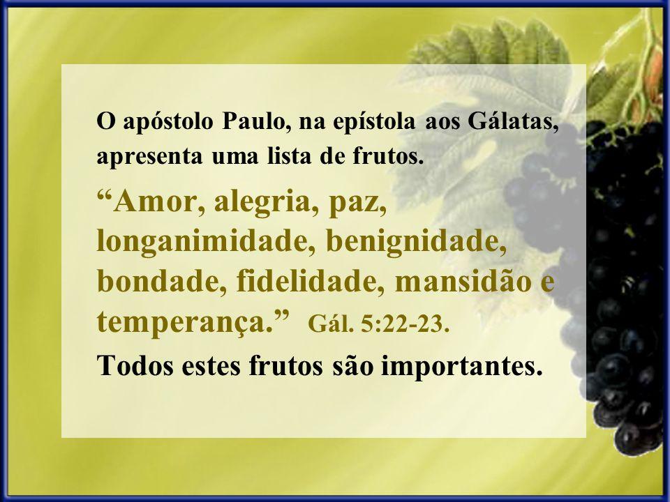 O apóstolo Paulo, na epístola aos Gálatas, apresenta uma lista de frutos.