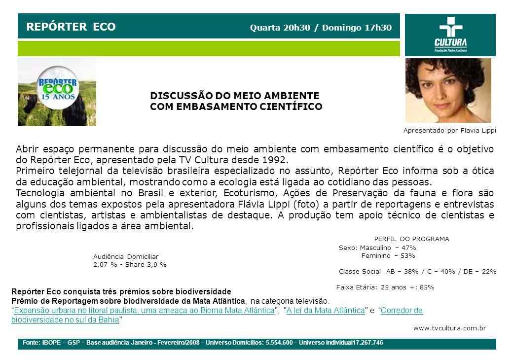 REPÓRTER ECO Quarta 20h30 / Domingo 17h30
