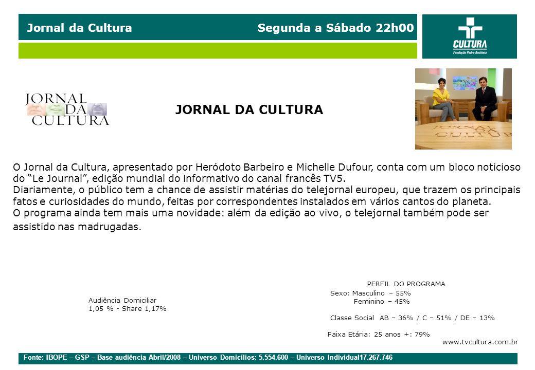 JORNAL DA CULTURA Jornal da Cultura Segunda a Sábado 22h00