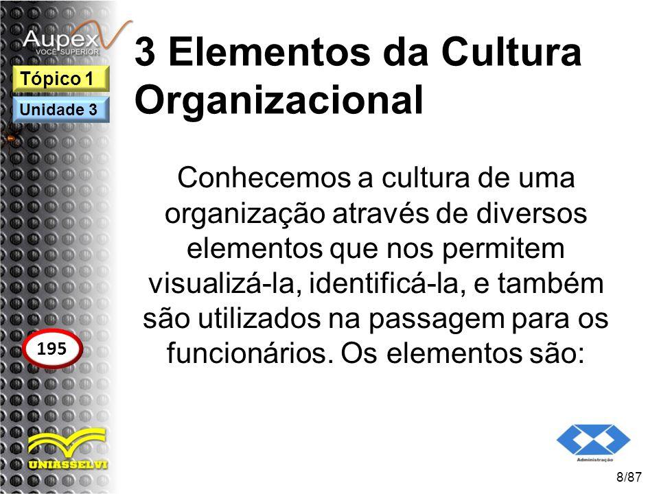 3 Elementos da Cultura Organizacional