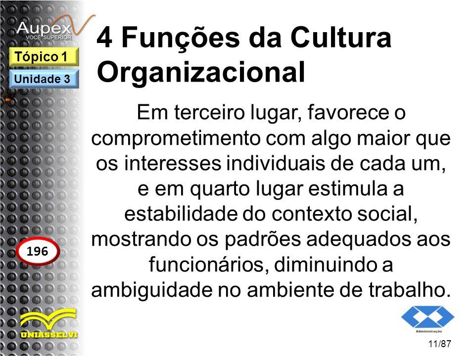 4 Funções da Cultura Organizacional