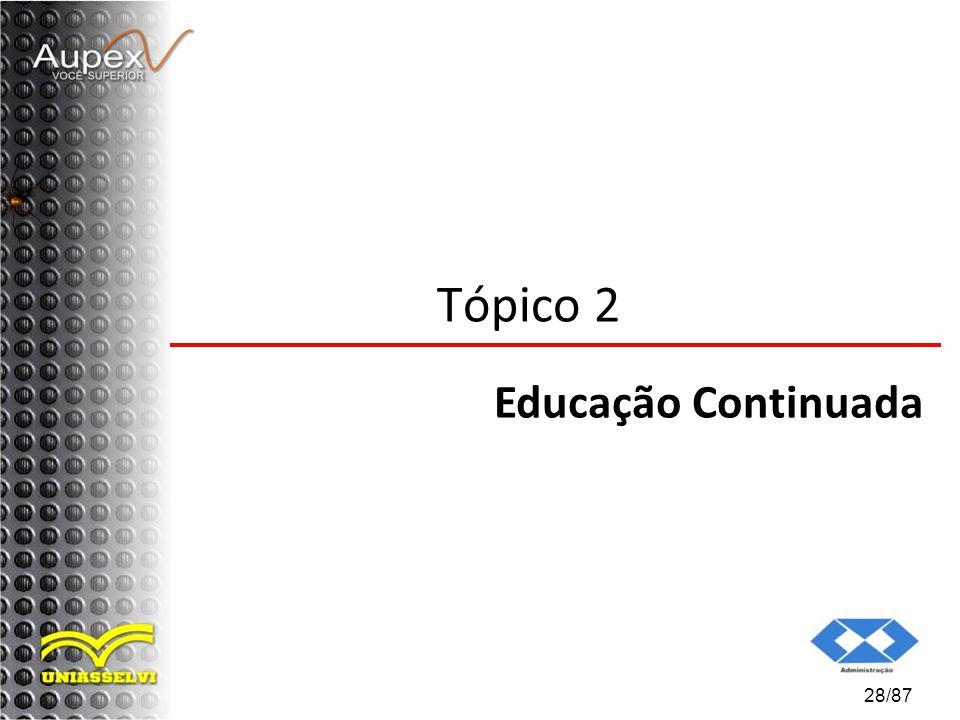 Tópico 2 Educação Continuada 28/87
