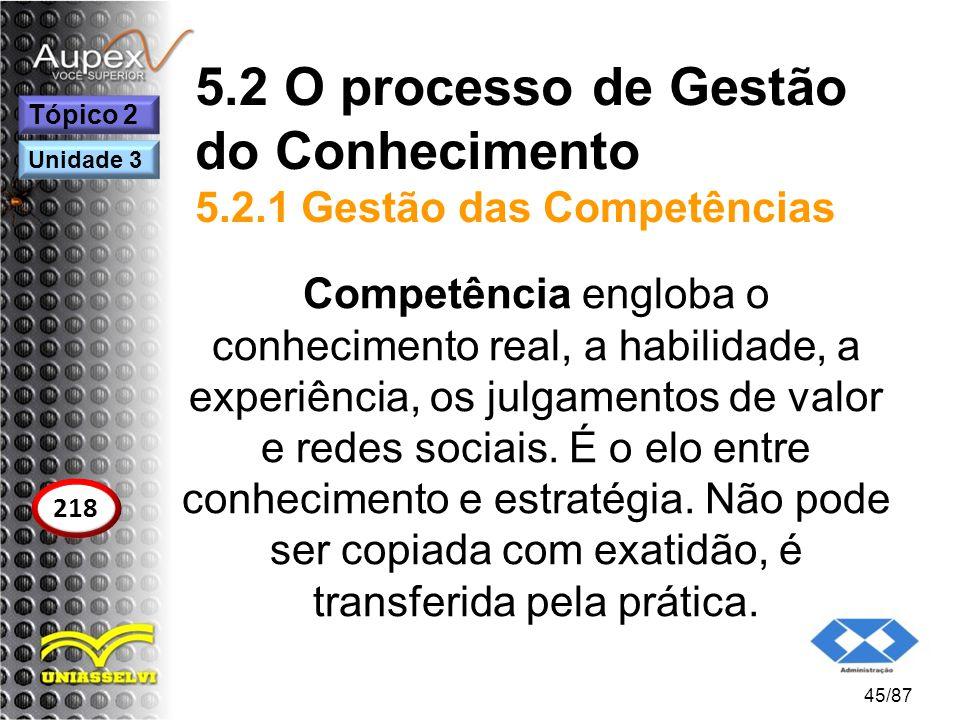5.2 O processo de Gestão do Conhecimento 5.2.1 Gestão das Competências