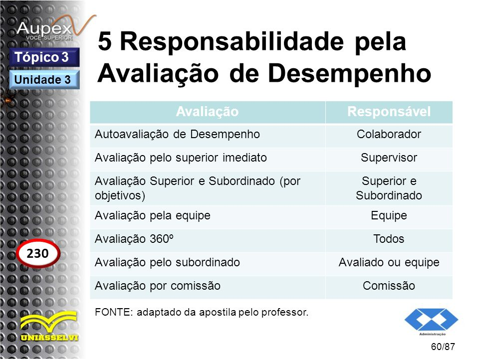 5 Responsabilidade pela Avaliação de Desempenho