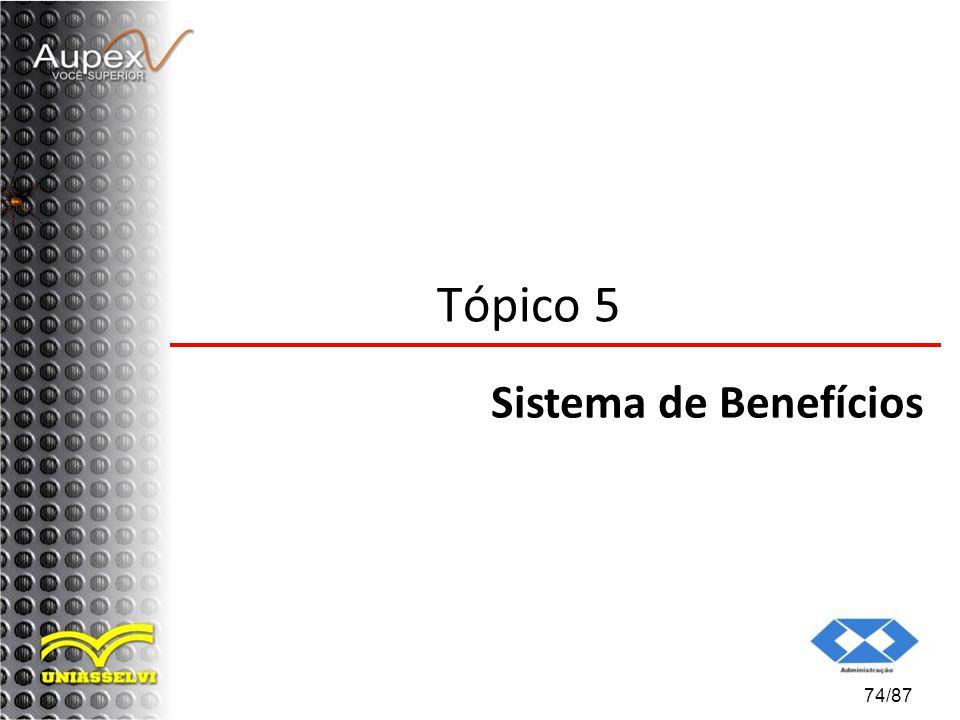Tópico 5 Sistema de Benefícios 74/87
