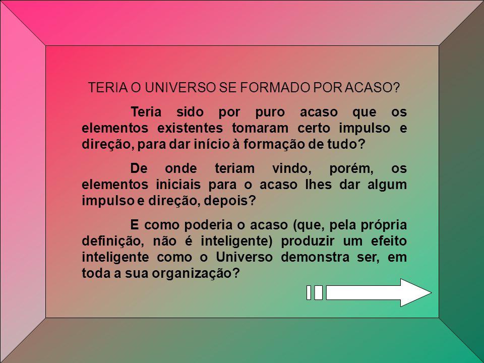TERIA O UNIVERSO SE FORMADO POR ACASO