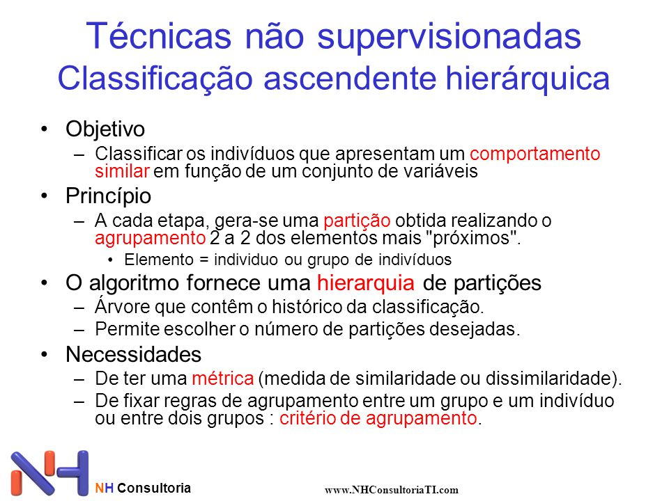 Técnicas não supervisionadas Classificação ascendente hierárquica