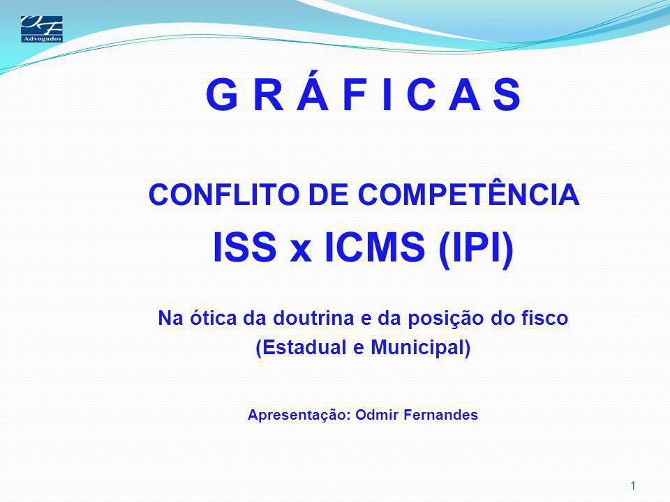 G R Á F I C A S ISS x ICMS (IPI) CONFLITO DE COMPETÊNCIA