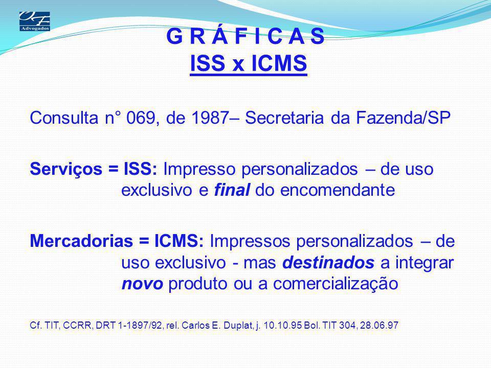 G R Á F I C A S ISS x ICMS Consulta n° 069, de 1987– Secretaria da Fazenda/SP.