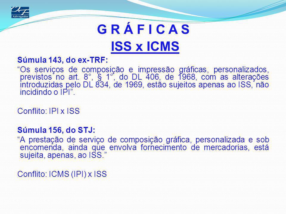 G R Á F I C A S ISS x ICMS Súmula 143, do ex-TRF: