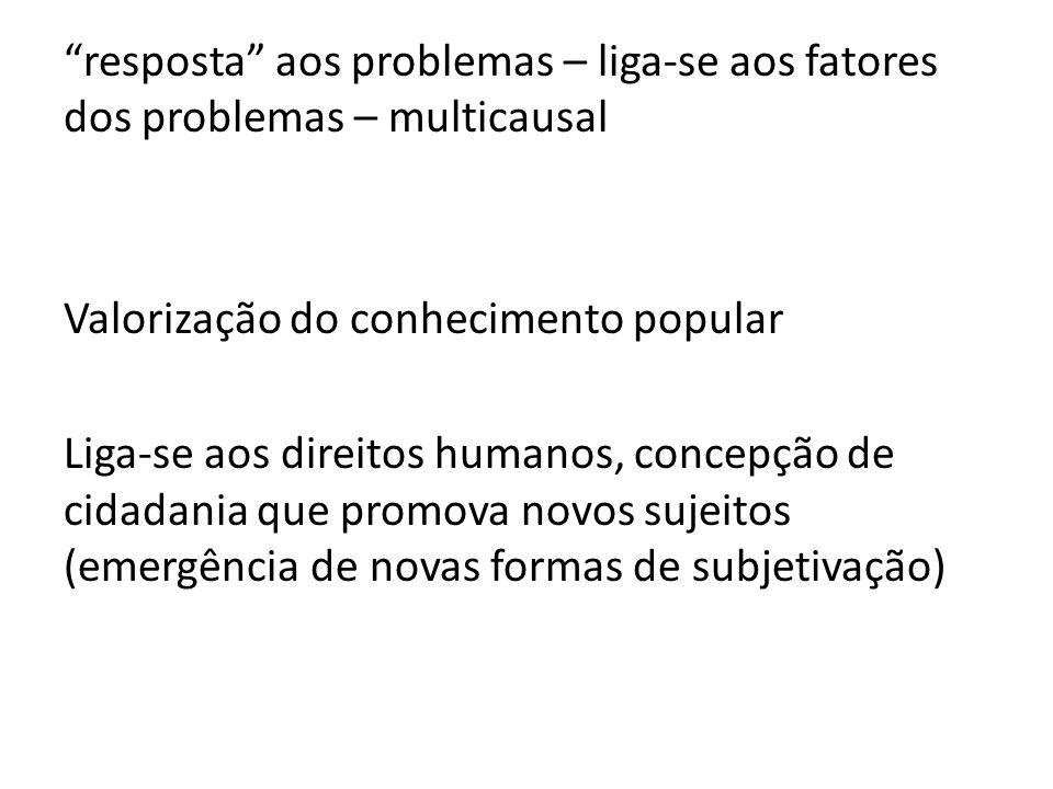 resposta aos problemas – liga-se aos fatores dos problemas – multicausal Valorização do conhecimento popular Liga-se aos direitos humanos, concepção de cidadania que promova novos sujeitos (emergência de novas formas de subjetivação)