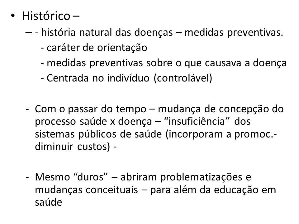 Histórico – - história natural das doenças – medidas preventivas.