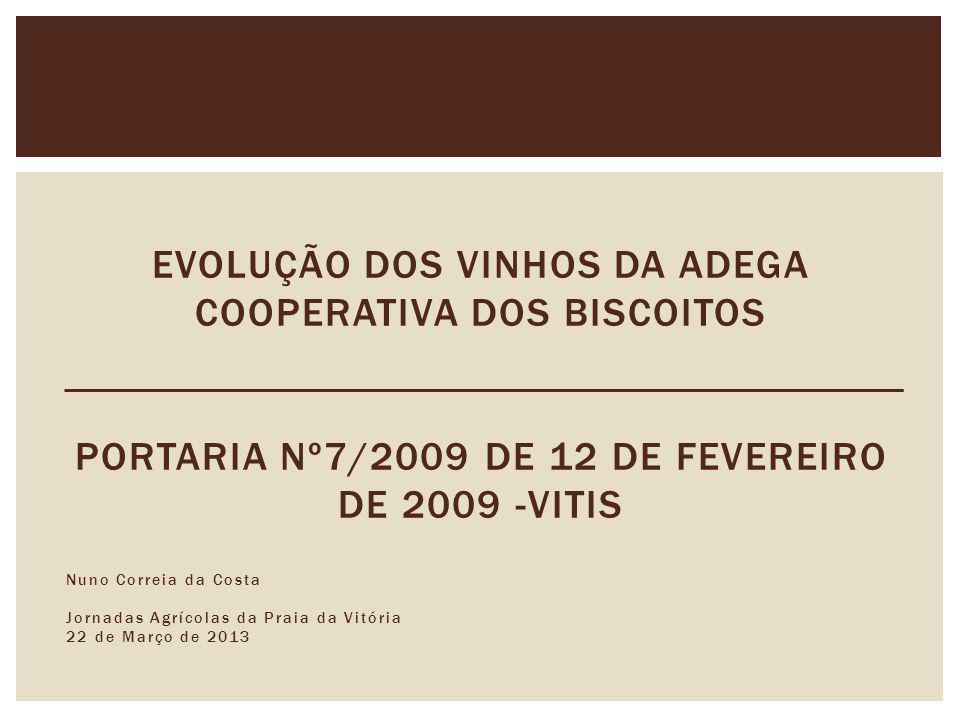 EVOLUÇÃO DOS VINHOS DA ADEGA COOPERATIVA DOS BISCOITOS Portaria nº7/2009 de 12 de Fevereiro de 2009 -VITIS