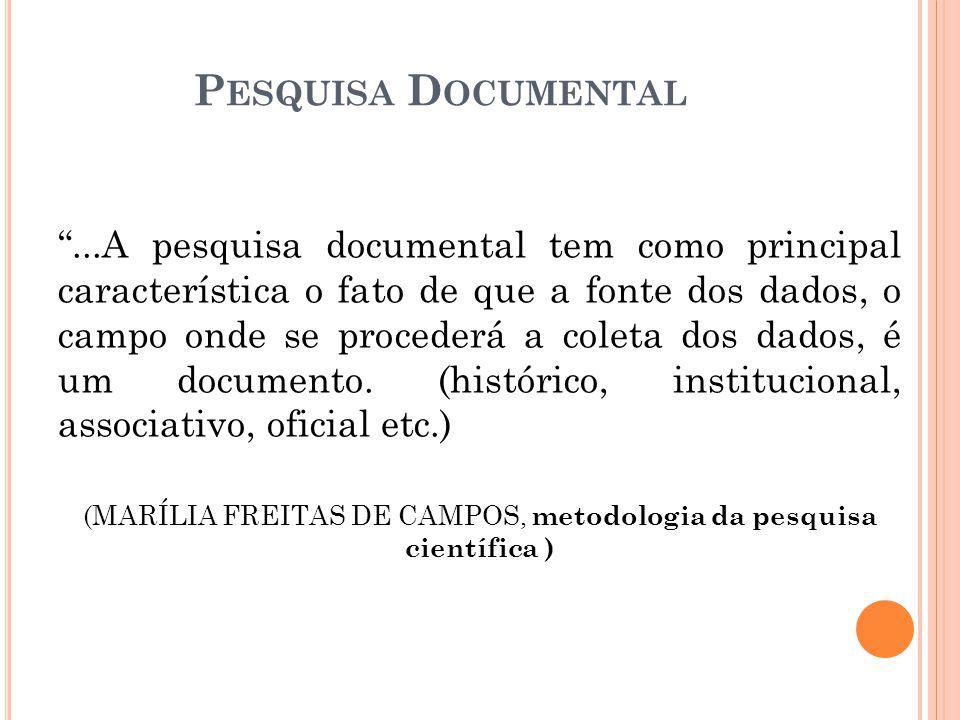 (MARÍLIA FREITAS DE CAMPOS, metodologia da pesquisa científica )
