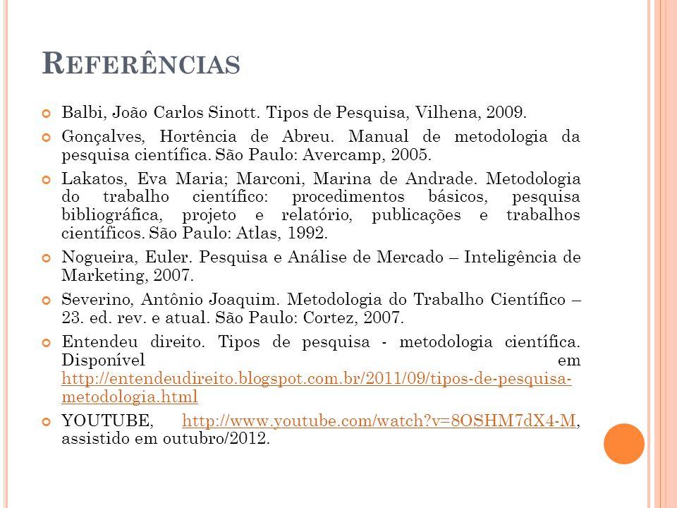 Referências Balbi, João Carlos Sinott. Tipos de Pesquisa, Vilhena, 2009.