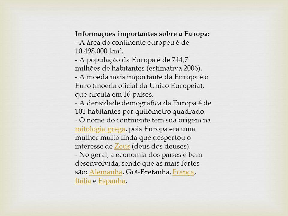 Informações importantes sobre a Europa: