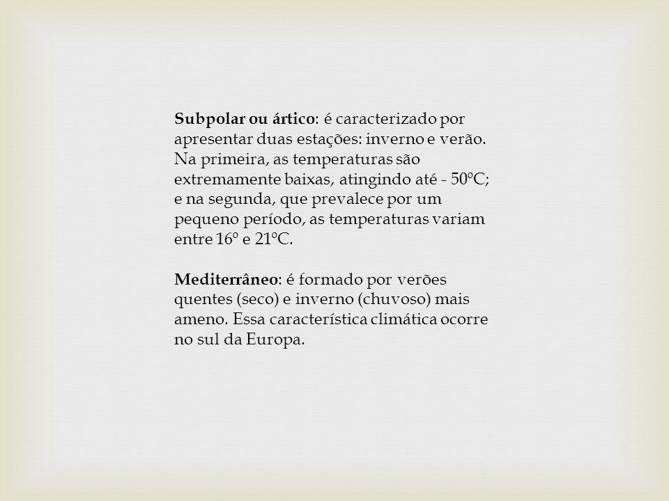 Subpolar ou ártico: é caracterizado por apresentar duas estações: inverno e verão.