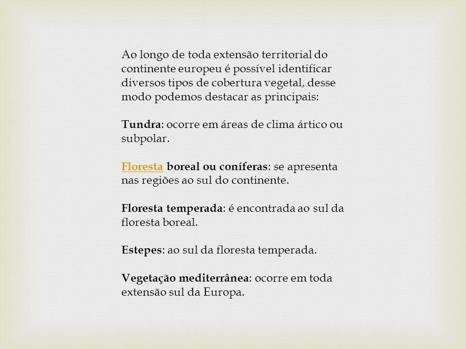 Ao longo de toda extensão territorial do continente europeu é possível identificar diversos tipos de cobertura vegetal, desse modo podemos destacar as principais: Tundra: ocorre em áreas de clima ártico ou subpolar.