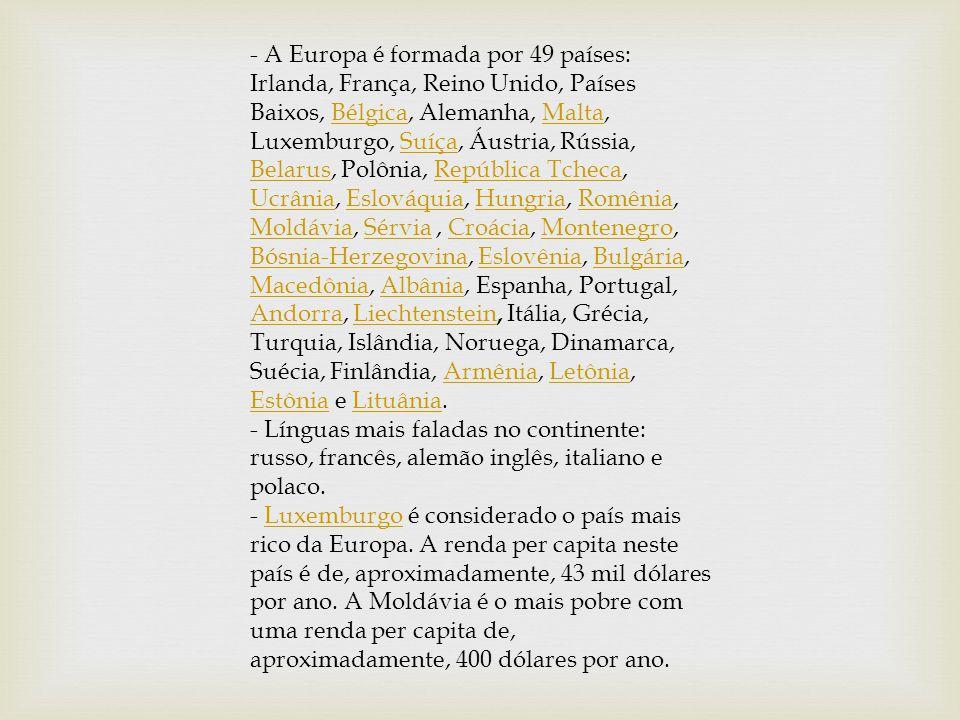 - A Europa é formada por 49 países: Irlanda, França, Reino Unido, Países Baixos, Bélgica, Alemanha, Malta, Luxemburgo, Suíça, Áustria, Rússia, Belarus, Polônia, República Tcheca, Ucrânia, Eslováquia, Hungria, Romênia, Moldávia, Sérvia , Croácia, Montenegro, Bósnia-Herzegovina, Eslovênia, Bulgária, Macedônia, Albânia, Espanha, Portugal, Andorra, Liechtenstein, Itália, Grécia, Turquia, Islândia, Noruega, Dinamarca, Suécia, Finlândia, Armênia, Letônia, Estônia e Lituânia.