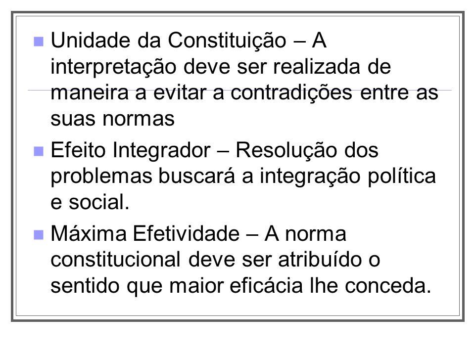 Unidade da Constituição – A interpretação deve ser realizada de maneira a evitar a contradições entre as suas normas